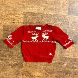 6 month Red Ralph Lauren Sweater with Moose Detail
